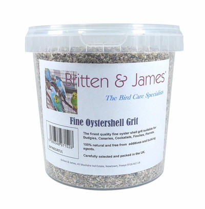 Finest Pure Oystershell Bird Grit - 2 Litre Stay Dry Tub