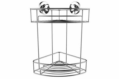 Superior Suction Fit Corner Shower Tidy with 2 shelves.