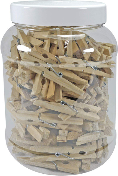 100 Premium Hardwood Clothes Pegs in a Plastic Jar