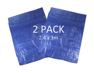 Pack of 2 Blue Waterproof Tarpaulins - Each 2.4m x 3m in Size