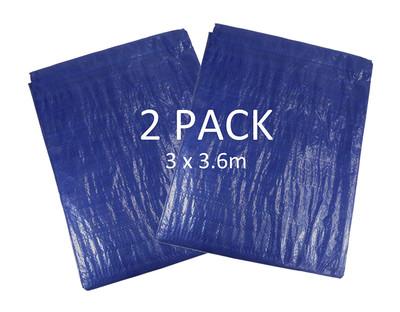 Pack of 2 Blue Waterproof Tarpaulins - Each 3m x 3.6m in Size