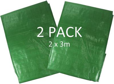 Pack of 2 Heavy Duty Green 140gsm Tarpaulins - Each 2m x 3m in Size