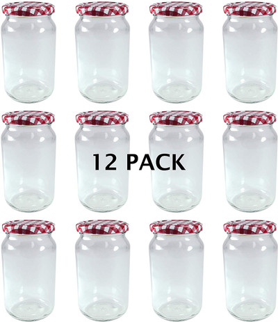 380ml Glass Jam Jar with Red Gingham Twist Top Lid - Pack of 12