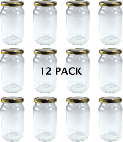 380ml Glass Jam Jar with Gold Twist Top Lid - Pack of 12