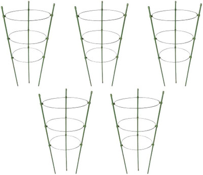 Pack of 5 Premium Plant Supports. Aids and Supports plant growth - rust resistant steel with plastic coating, 60 cm height