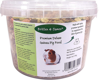 Premium Deluxe Guinea Pig Food Mix by Britten & James (1.75kg). The Ultimate Natural and Healthy Blend with added Vitamin C - Delicious and Nutritious - in a 'Stay Fresh' tub