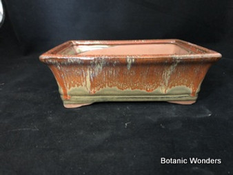"Glazed Rectangular pot, 8.5""x6.5""x2.75"""