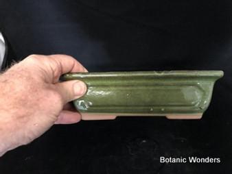 "Green, Glazed Rectangular pot, 8""x5.75""x2.5"""