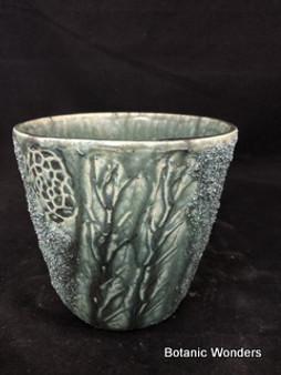 """Handmade pot, Susan Aach, 5""""x5"""" round, Green"""