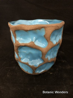 """Handmade pot, Susan Aach, 5""""x5"""", round, blue."""