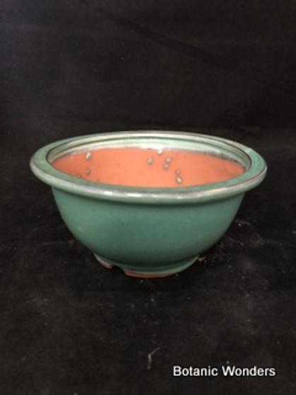"Glazed Bonsai Pot, 6""x3"""
