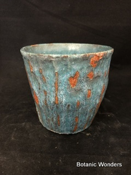 "Handmade pot by Susan Aach, 5""x5"" Blue"