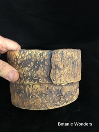 "Handmade pot, Susan Aach, 6.5""x4"", round, Earthy"