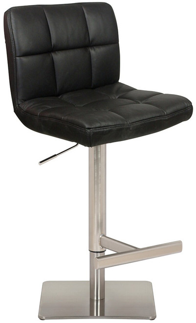 Deluxe Allegro Leather Brushed Bar Stool Black Square Base
