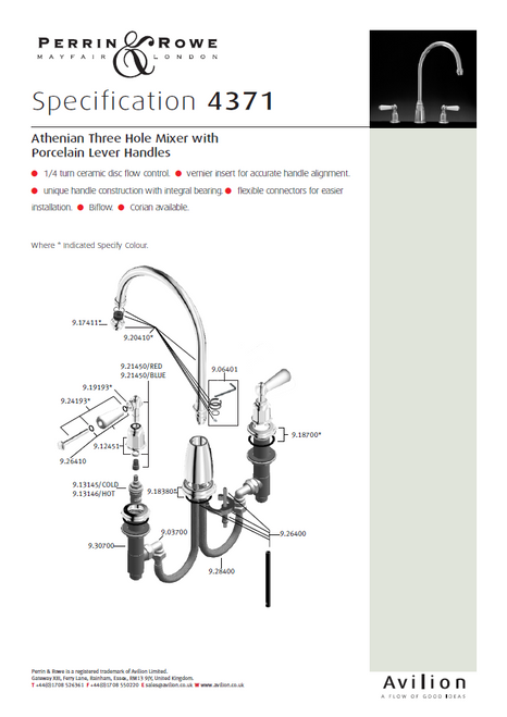 Perrin & Rowe Athenian 4371 Kitchen Tap