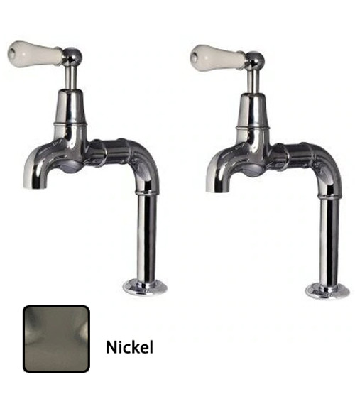 Rudge Bewdley Lever Brushed Kitchen Tap Pair - Nickel