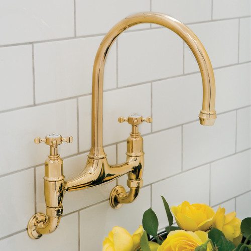 Perrin and Rowe Ionian 4182 Wall Mounted Tap, Crosshead Handles