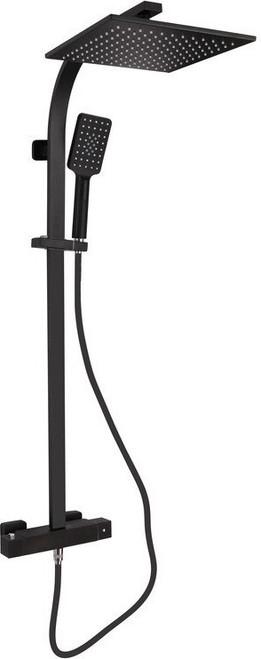 Square Cool Touch Thermostatic Bar Mixer w/Riser Kit - Matt Black