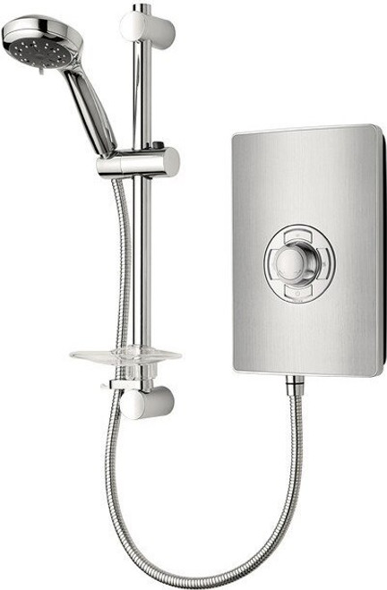 Triton Aspirante 9.5kW Contemporary Electric Shower - Brushed Steel