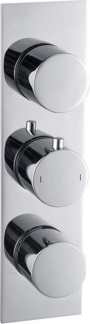 Sphere Slim Plate Thermostatic Triple Shower Valve - Two Outlet