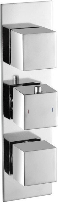 Rhomba Slim Plate Thermostatic Triple Shower Valve - Two Outlet