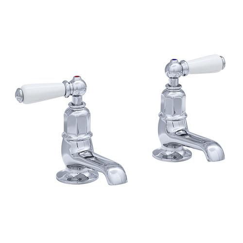 Perrin & Rowe 3475 Pair Basin Pillar Taps, Lever Handles