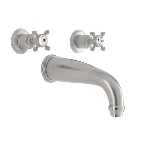 Perrin & Rowe 3801 Three Hole Mounted Bath Tap, Crosshead Handles