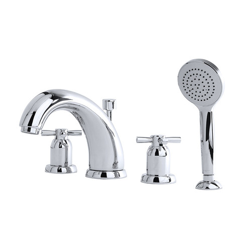 Perrin & Rowe 3846 Four Hole Shower Mixer Tap, Crosshead Handles