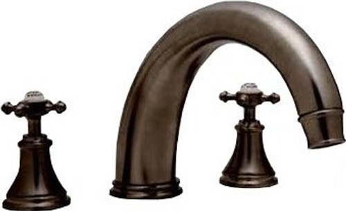 "Perrin & Rowe 3659 10"" Three Hole Bath Mixer Tap, Crosshead Handles"