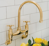 Perrin and Rowe Gold Wall Mounted Tap Lifestyle Picture