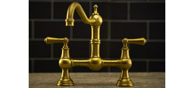 Perrin and Rowe Satin Brass Tap Lifestyle Picture