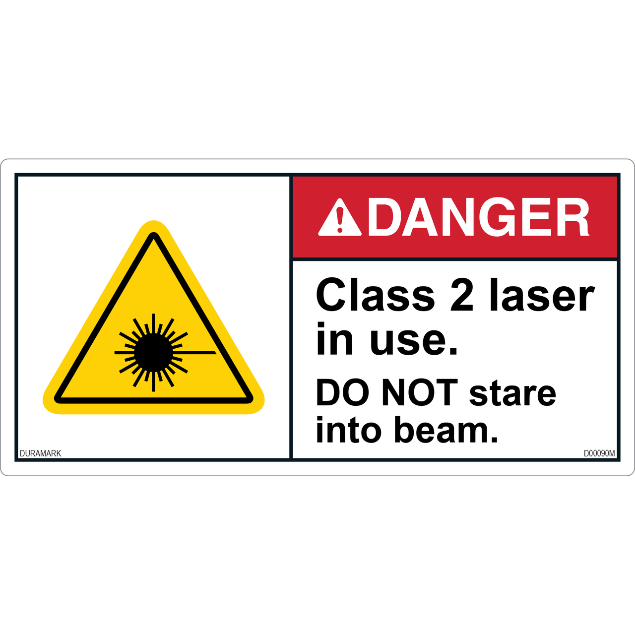 ANSI Safety Label - Danger - Class 2 Laser in Use - Do Not Stare