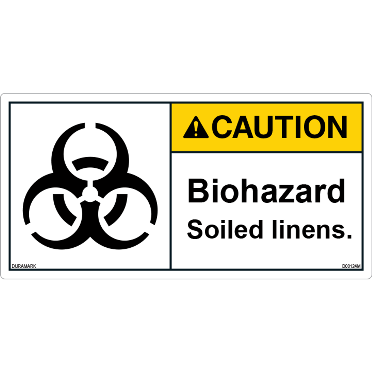 Caution - Biohazard - Soiled Linens - ANSI Safety Label