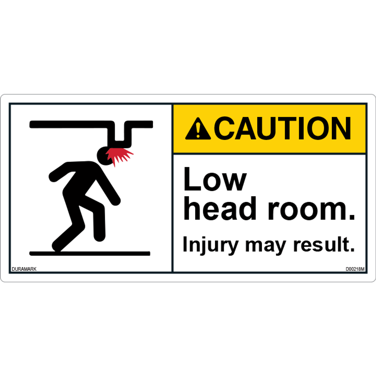 ANSI Safety Label - Caution - Low Head Room- Injury
