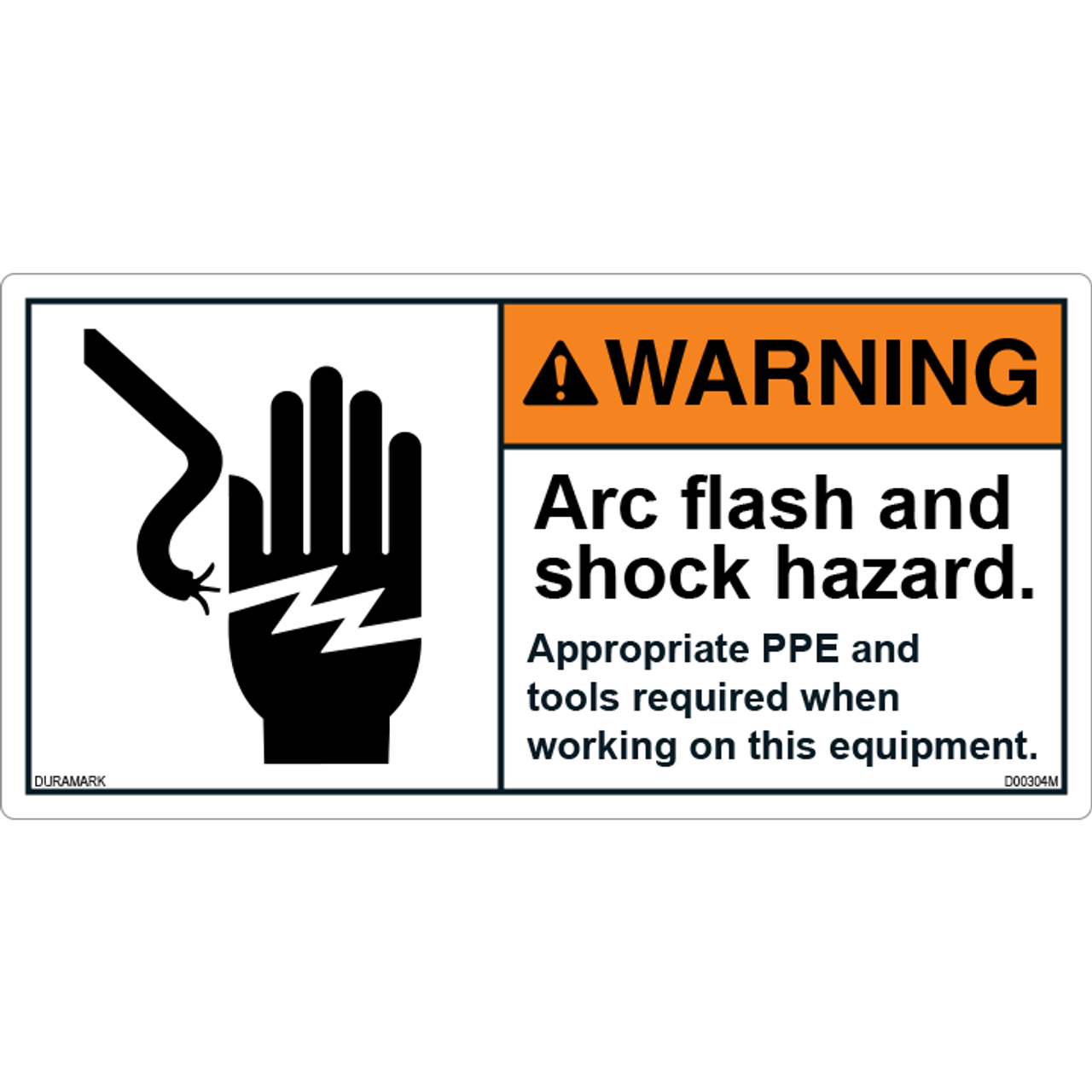ANSI Safety Label - Warning - Arc/flash and Shock - Appropriate PPE
