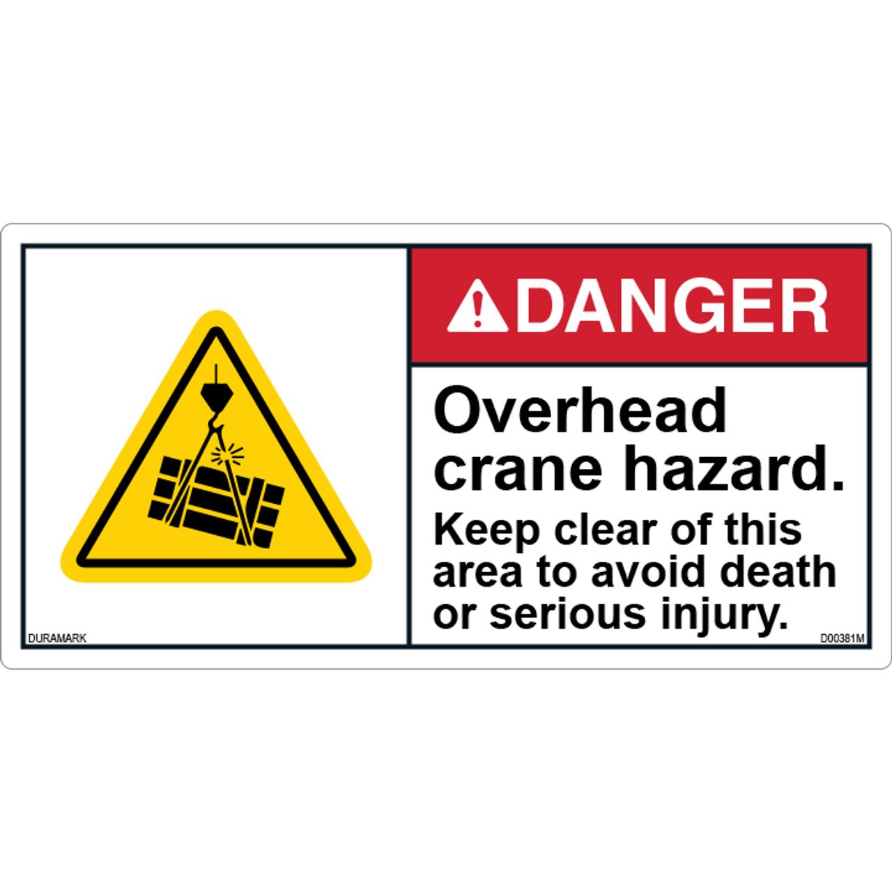 ANSI Safety Label - Danger - Overhead Crane hazard