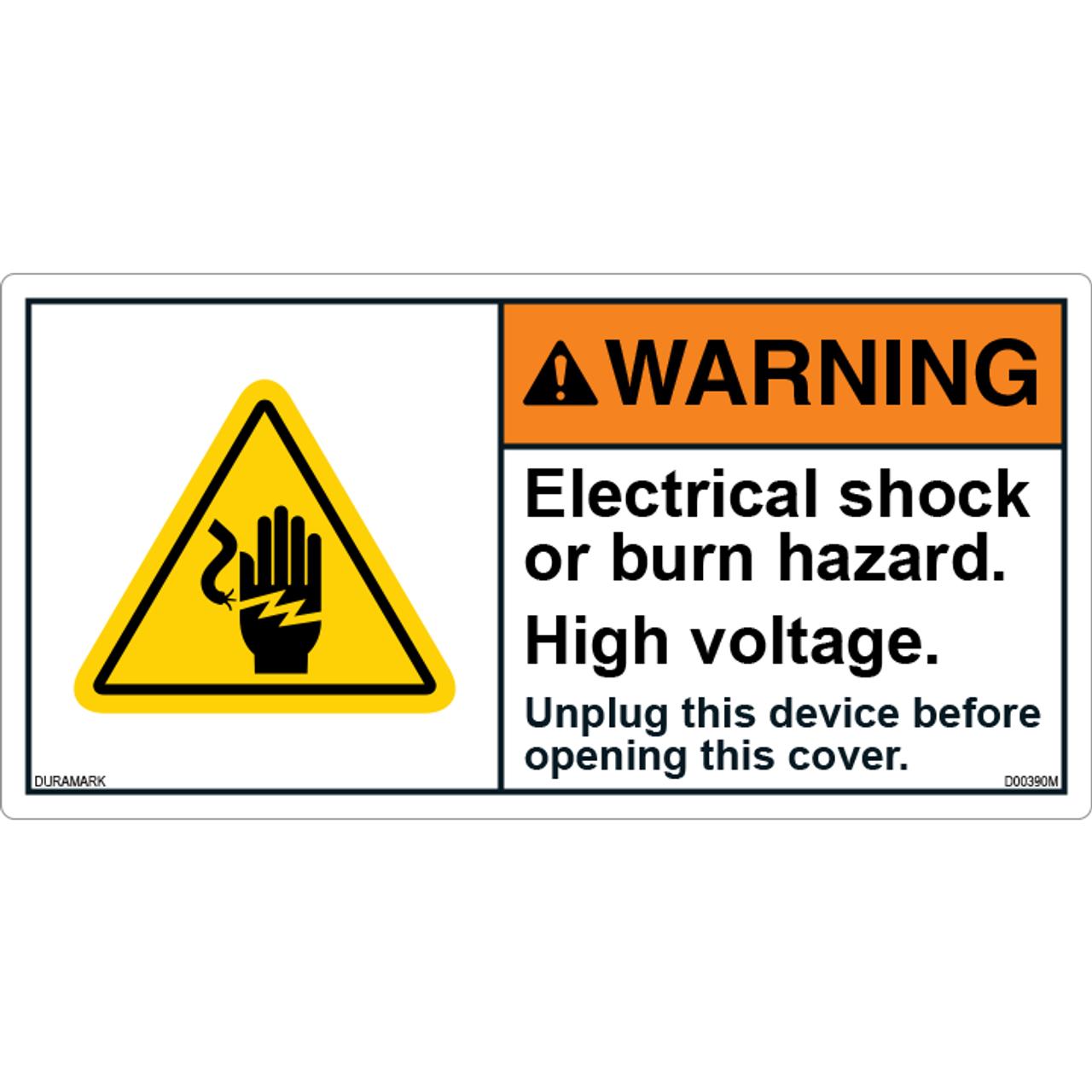 ANSI Safety Label - Warning - Electrical Shock - High Voltage