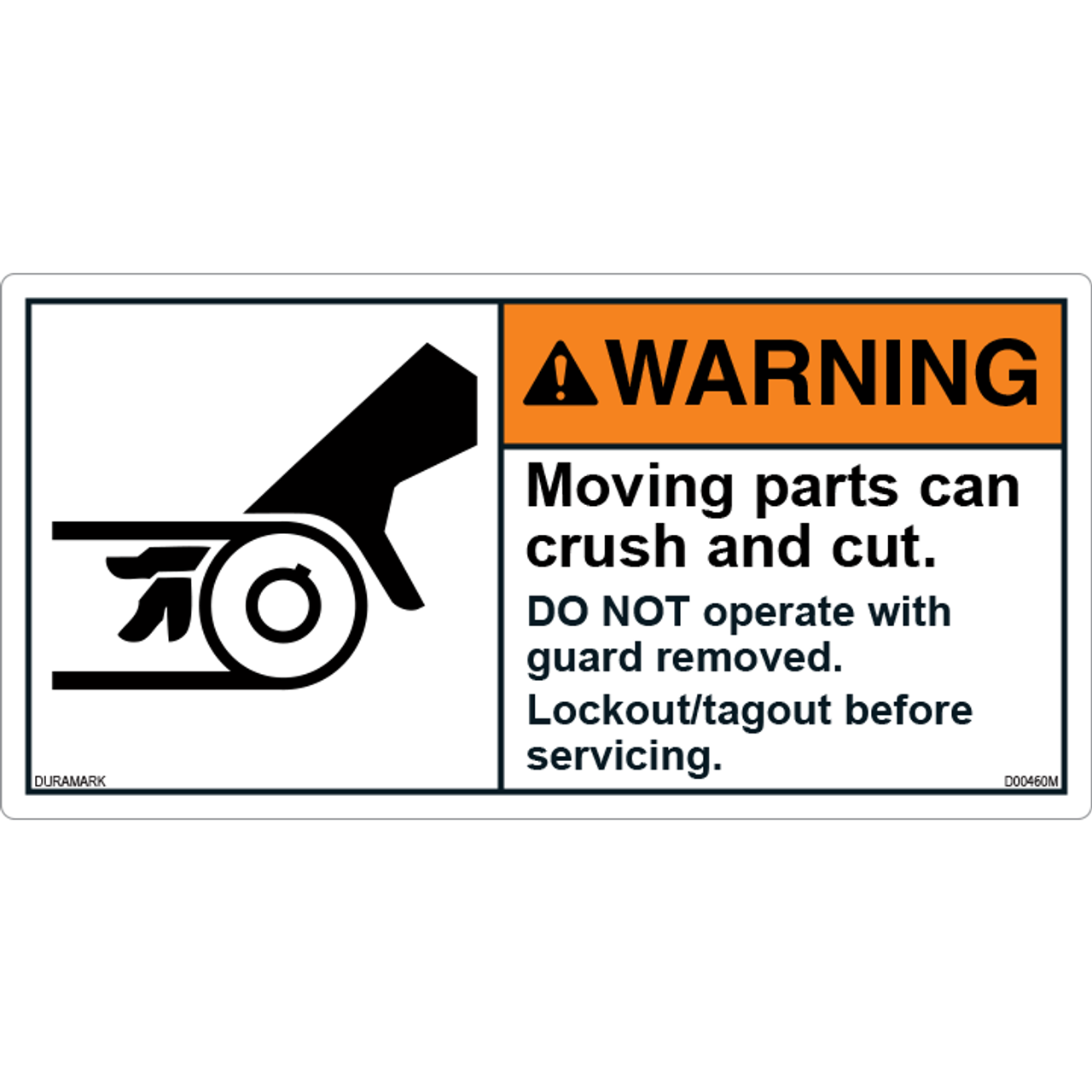 ANSI Safety Label - Warning - Roller - Crush And Cut - Lockout/Tagout