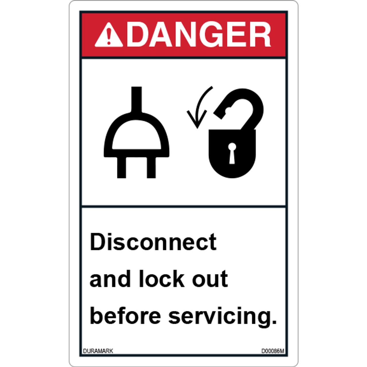 ANSI Safety Label - Danger - Lockout - Disconnect Before Servicing - Vertical