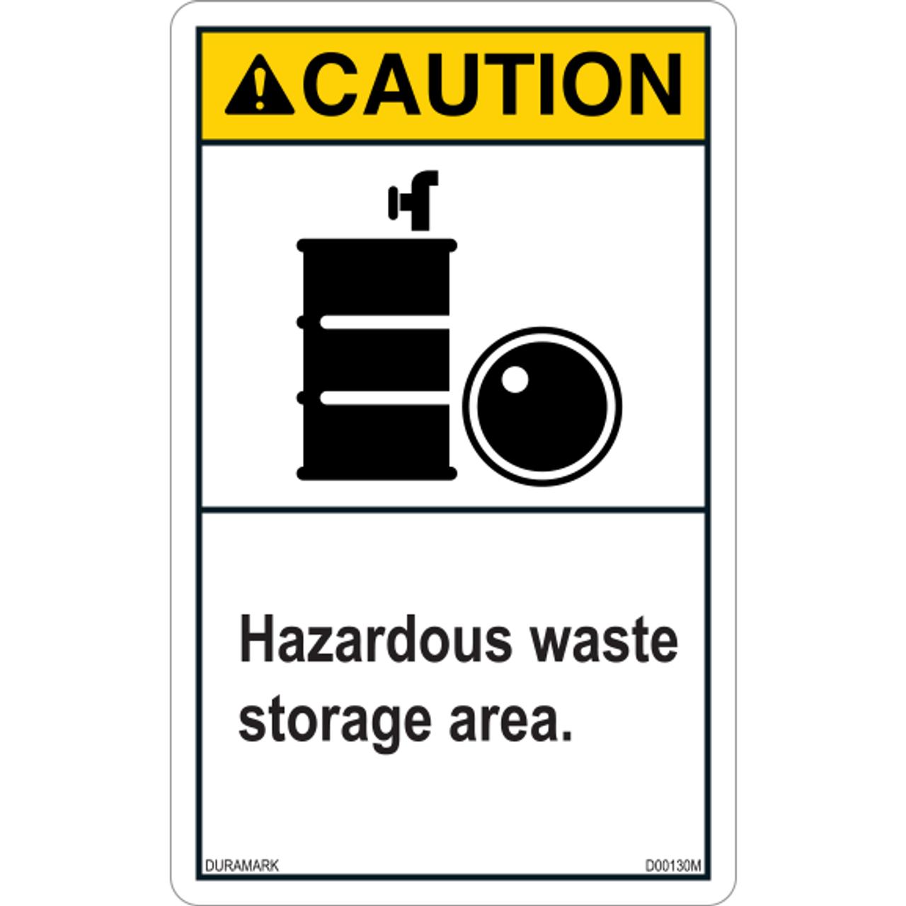 ANSI Safety Label - Caution - Hazardous Waste Storage - Vertical