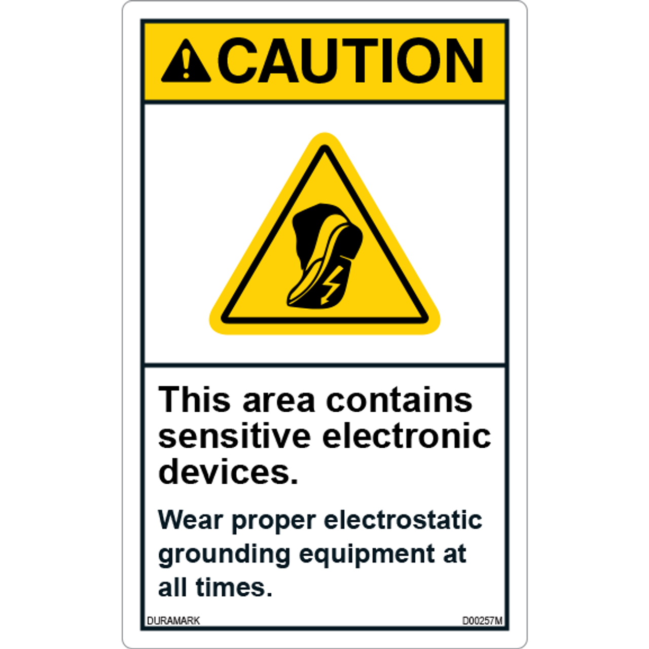 ANSI Safety Label - Caution - Sensitive Electronic Devices - Wear Grounding Equipment - Vertical