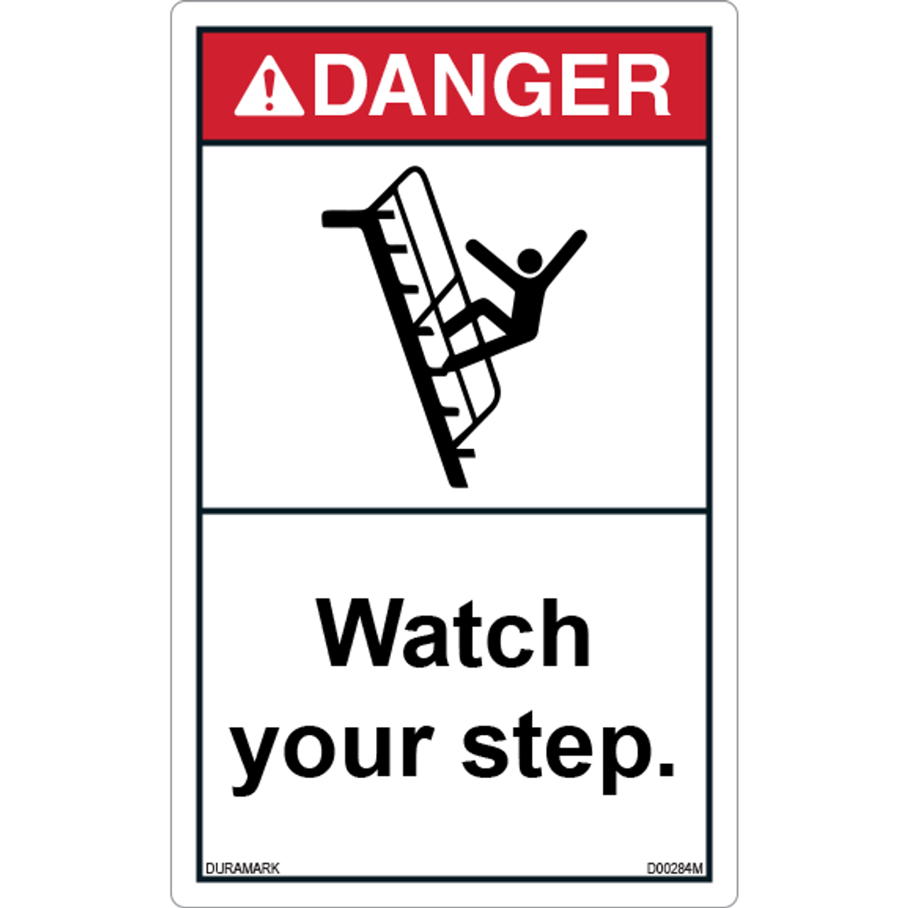 ANSI Safety Label - Danger - Watch Your Step - Falling - Vertical