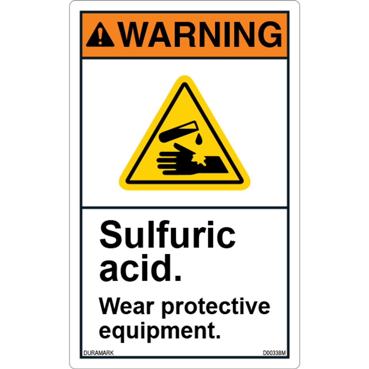 ANSI Safety Label - Warning - Sulfuric Acid - Wear Protective Equipment - Vertical