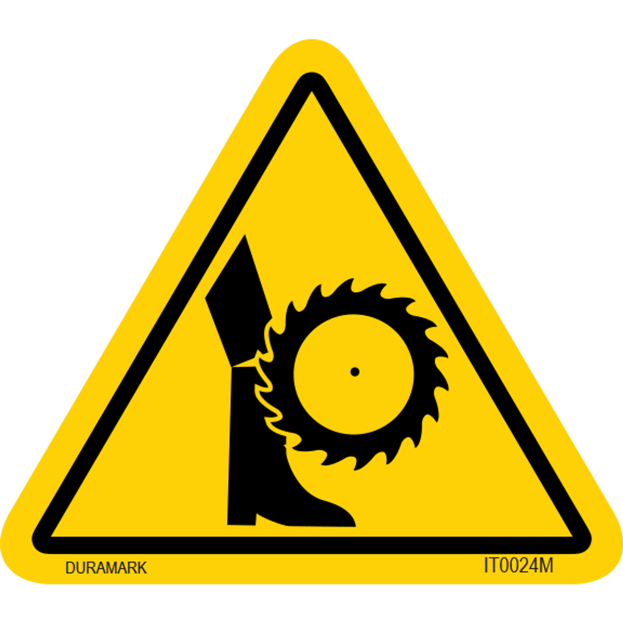 ISO safety label - Triangle - Leg Cut - Saw