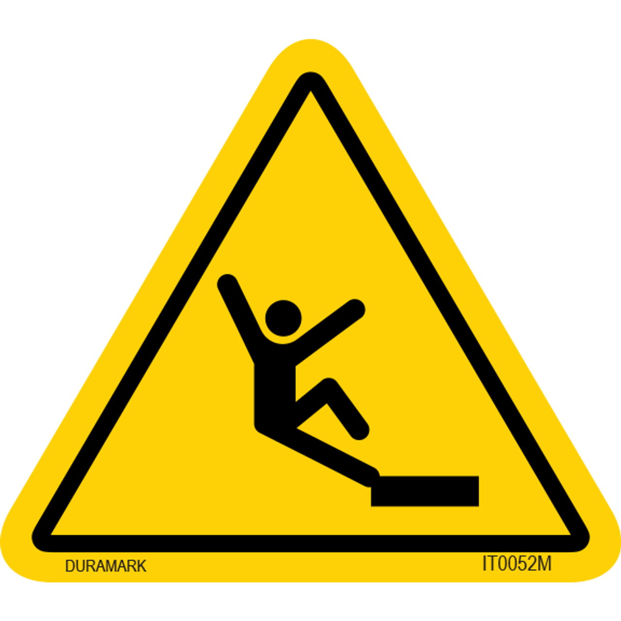 ISO safety label - Triangle - Fall - Edge - Close Up
