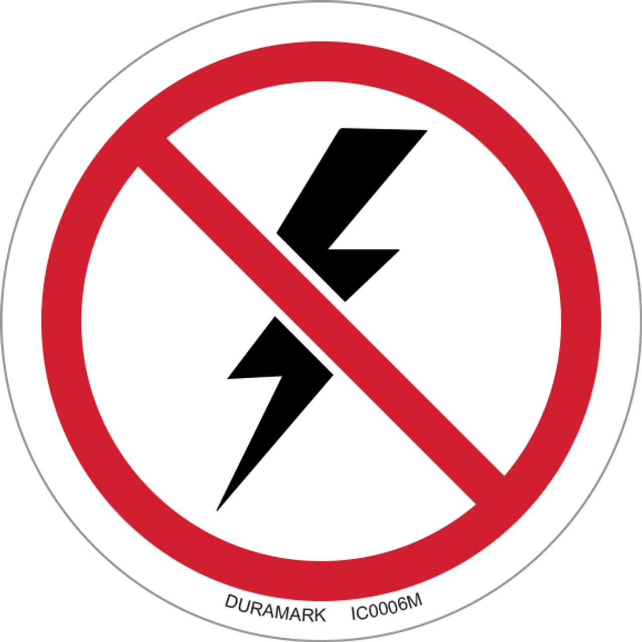 ISO safety label - Circle - Prohibited - Thunderstorm & Lightning