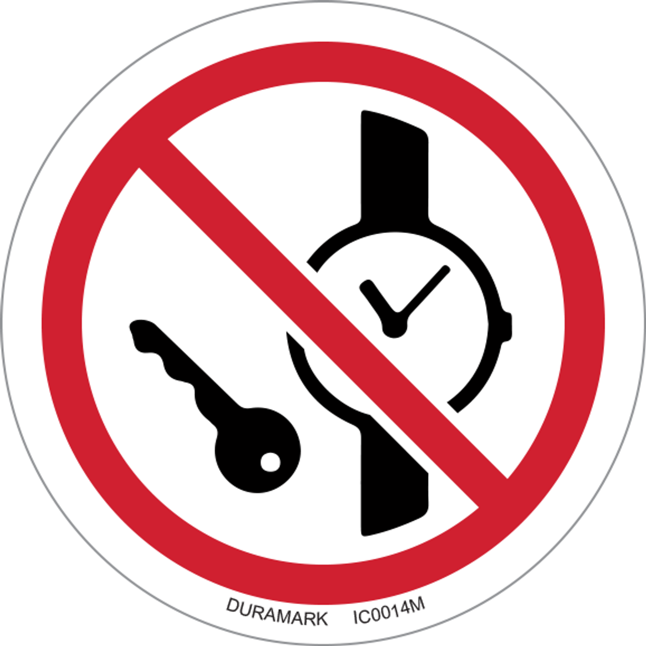 ISO safety label - Circle - Prohibited - No Metal Or Watches