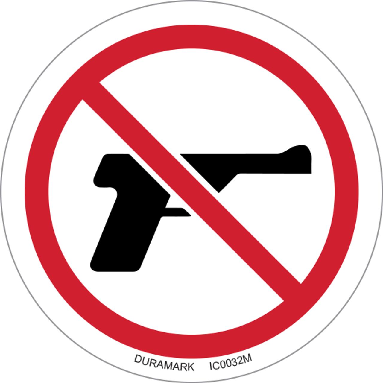 ISO safety label - Circle - Prohibited - No Guns