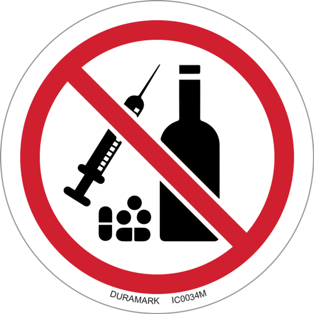ISO safety label - Circle - Prohibited - No Drugs Or Alcohol