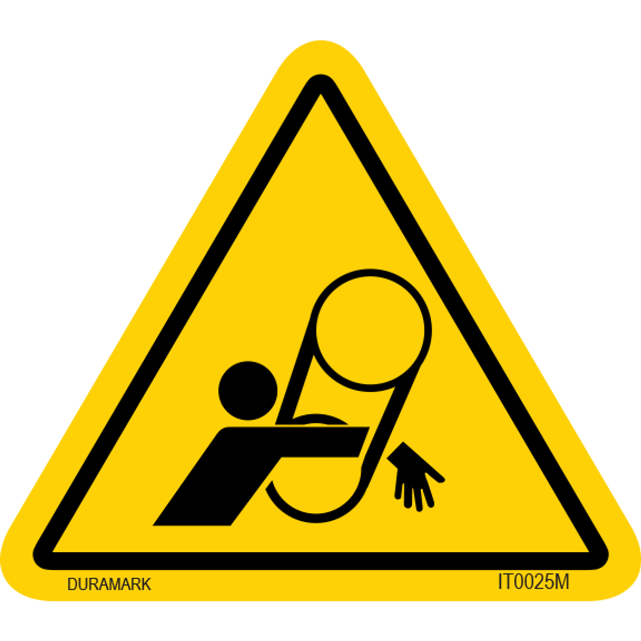 ISO safety label - Triangle - Belt Entanglement - Arm